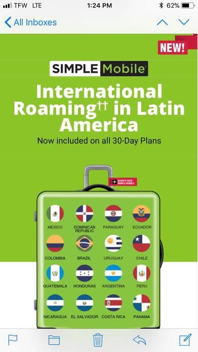 Simple Mobile les ofreciendo ROAMING INTERNACIONAL en latin america en todos los planes!!!!! Si desea visitar a su famil...